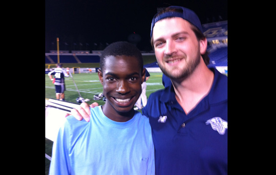 At a Bayhawks lacrosse game with my Grandson, Dominic and Chesapeake Bayhawks Forward Michael Evans