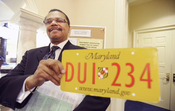 A sample of the special license plate Marvin advocates for repeat drunken-driving offenders