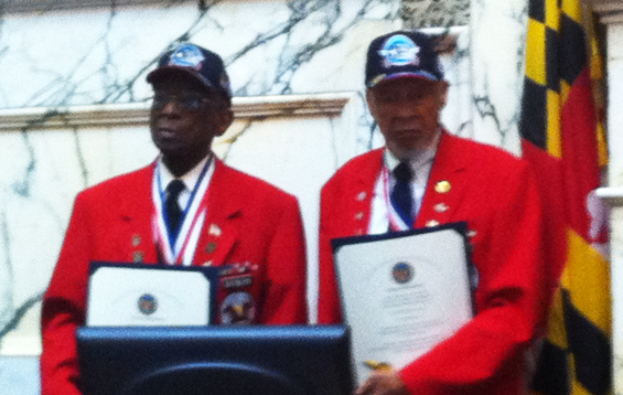The famous Tuskegee Airmen (Red Tails) visit the Maryland General Assembly and receive a standing ovation